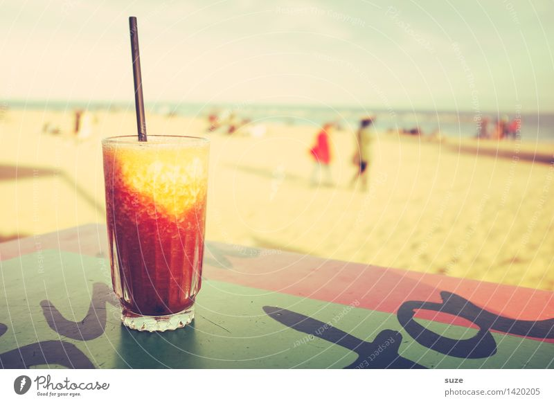 Vacation & Travel Summer Ocean Relaxation Joy Beach Lifestyle Party Sand Contentment Tourism Leisure and hobbies Idyll Glass Beverage Retro