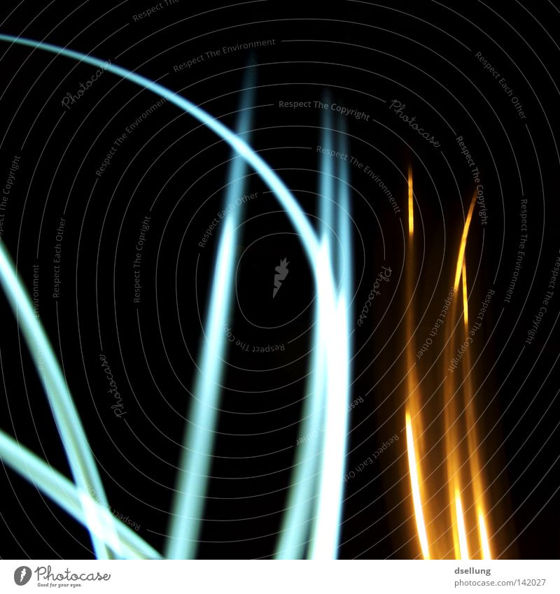 Course of light beams on a black background Light Chaos Colour Yellow Blue Flashlight Dark Muddled Reflection Painting and drawing (object) Disorientated