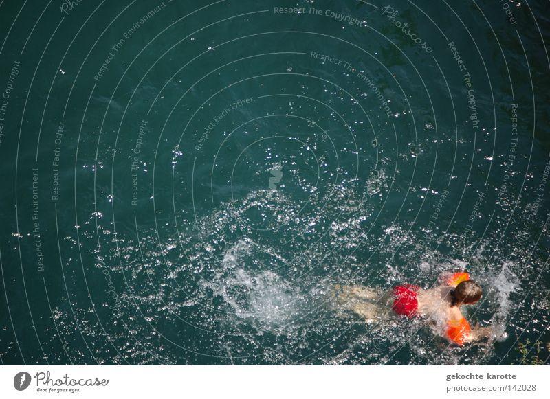 Child Water Red Boy (child) Orange Swimming & Bathing River Water wings Aquatics