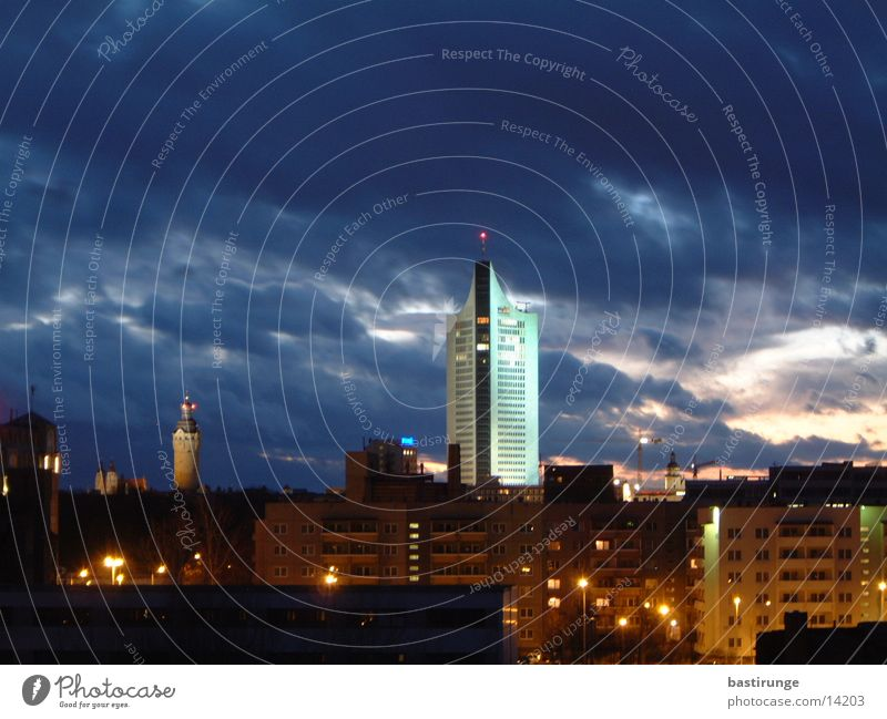 Leipzig City Town Clouds High-rise Twilight Architecture university giants Light Skyline City-Hochhaus Leipzig