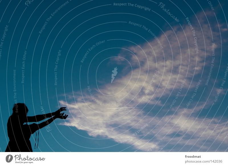 Woman Hand Girl Beautiful Sky Blue Summer Clouds Perspective Might Idyll