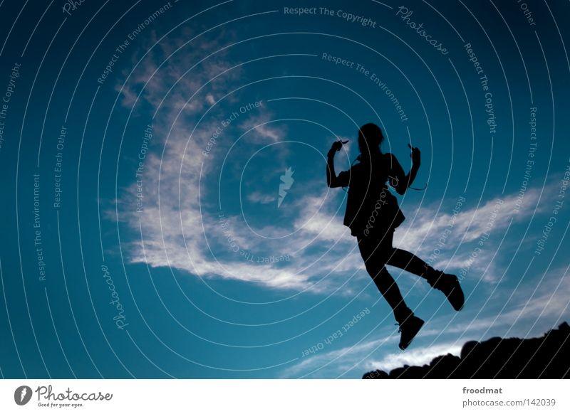 Woman Sky Blue Hand Beautiful Girl Joy Clouds Jump Dance Elegant Fingers Perspective Cool (slang) Posture Idyll