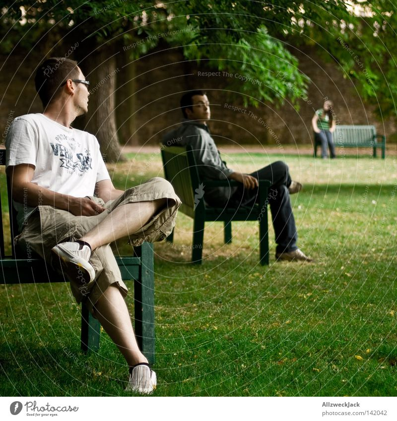 Green Summer Relaxation Meadow Group Park 3 Lawn Break Communicate Bench Stand Rotate Agree Strike Fulda district