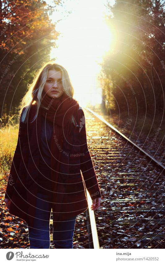 Where are we going? Feminine Young woman Youth (Young adults) Life 1 Human being 18 - 30 years Adults Environment Nature Autumn Beautiful weather Fashion