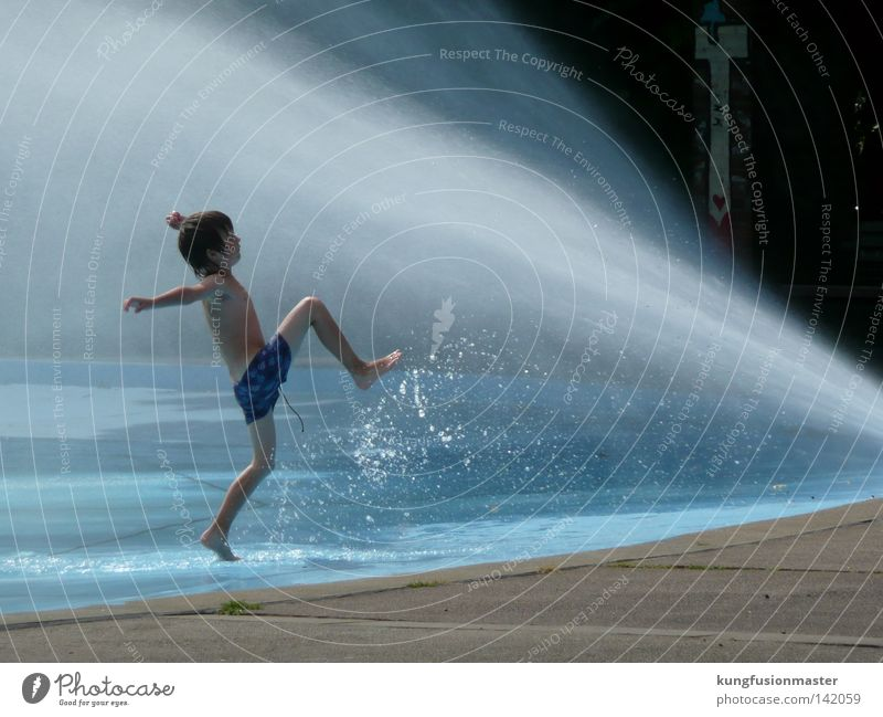 Water Blue Sun Summer Joy Relaxation Life Cold Playing Child Boy (child) Happy Jump Park Infancy Leisure and hobbies