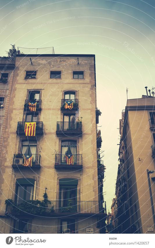 Vacation & Travel Old Town Window Travel photography Architecture Building Tourism Facade Europe Historic Spain Flag Capital city Downtown Tradition