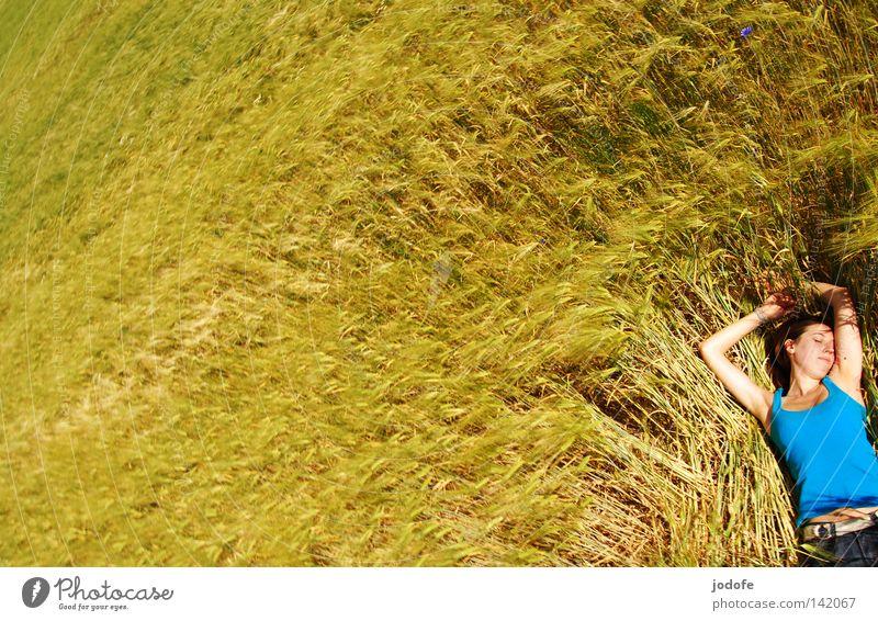 feelings. Woman Cornfield Ear of corn Field Agriculture Yellow Green Lie Sleep Doze Relaxation Break To enjoy Sunbathing Spring Food Barley Rye Feminine Top