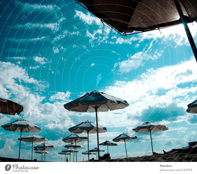 Foreign world Beach Ocean Vacation & Travel Wide angle Perspective Exceptional Unfamiliar Blue Sky Moon landing Extraterrestrial Sunshade Summer Varna Bulgaria