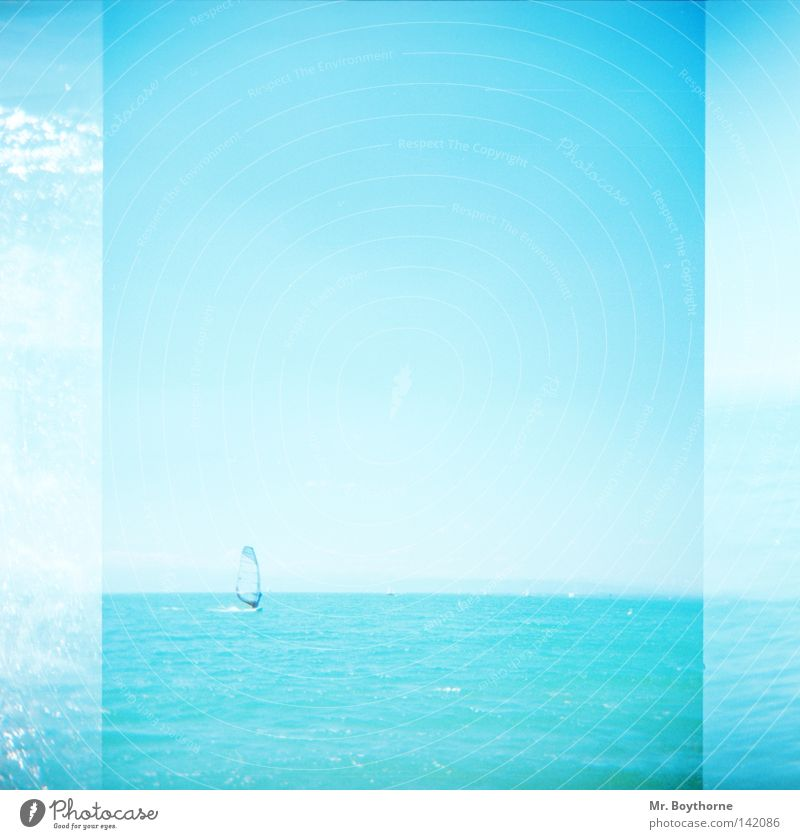 tailwind Surfing Windsurfing Blue Turquoise Light blue Beautiful weather Sun Summer Horizon Water Ocean Lake Sailing Reflection Glittering Sky Memory