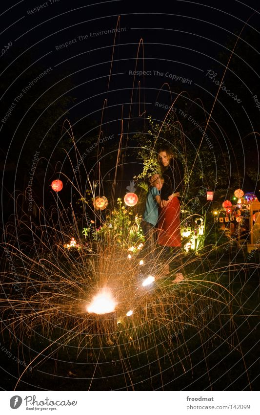 Woman Child Youth (Young adults) Girl Tree Plant Summer Joy Lamp Dark Meadow Party Grass Garden Dream Family & Relations
