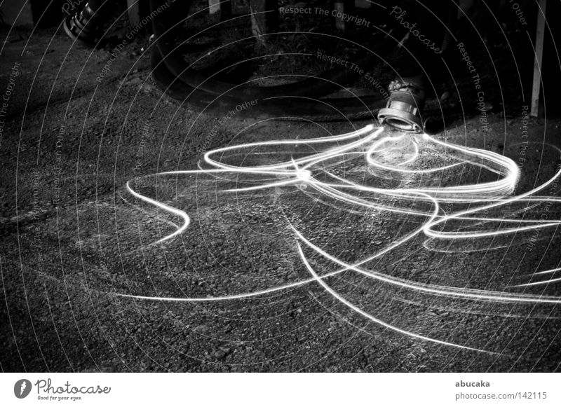 fluid Light Industrial Photography Industry Industrial district Long exposure Night Hose Black White Bright Placed Artificial Flashlight Fear Fluid Disgust