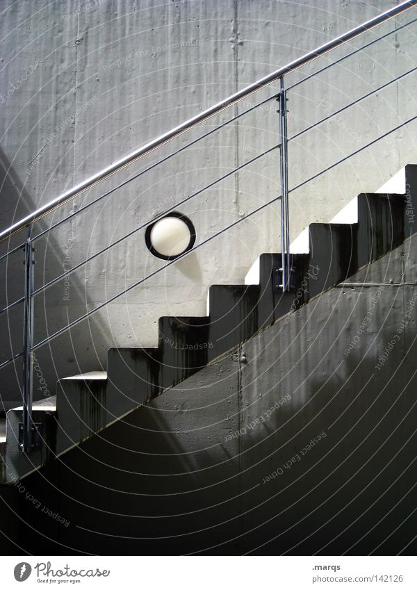 upward Above Gray Round Ball Corner Tall Upward Line Going Walking Stairs White Concrete Lamp Downward Metal Descent Handrail Banister Shadow Black Go up