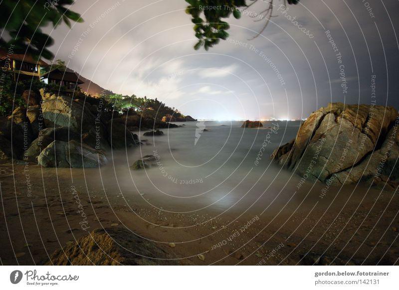 horizontal light Ocean Waves Long exposure Night Horizon Thailand Koh Samui Island Beach Midnight Asia Rock Lights