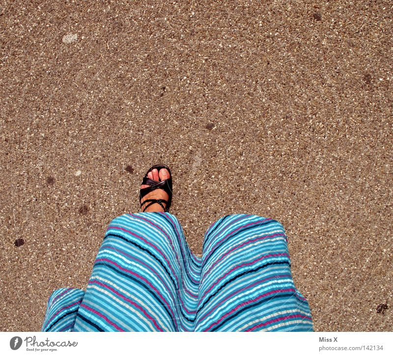 one-legged pirate bride Colour photo Summer Woman Adults Feet Dress Footwear Going Walking Stand Above Under Blue Gray Black Stony Gravel Asphalt Bound laced
