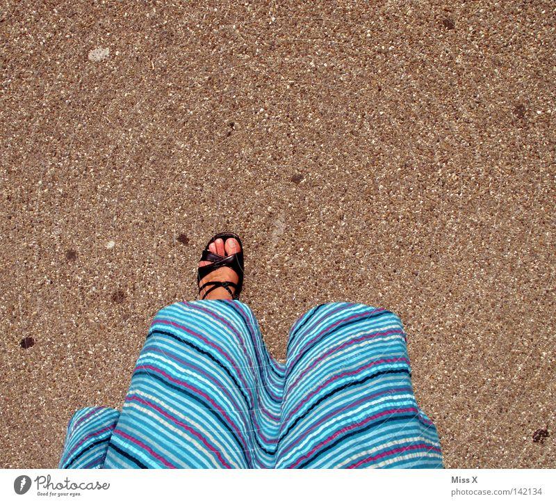 Woman Blue Summer Black Above Gray Feet Footwear Adults Going Walking Stand Dress Asphalt Under Gravel