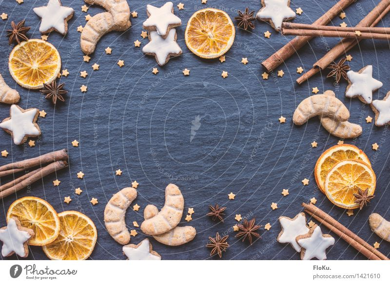 Blue Christmas & Advent Food Orange Fruit Nutrition Stars Sweet Herbs and spices Delicious Candy Baked goods Dough Dried Cookie Christmas biscuit
