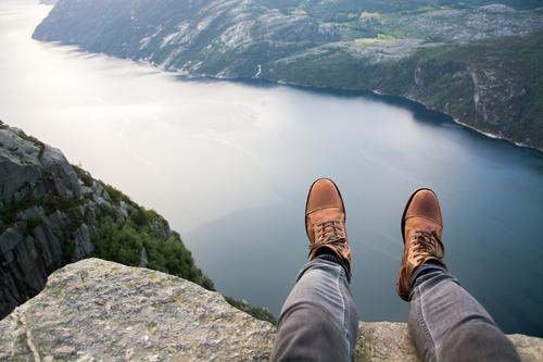 Norway XIII - Preikestolen Vacation & Travel Trip Adventure Far-off places Freedom Human being Masculine Legs Feet 1 Environment Nature Landscape Hill Rock