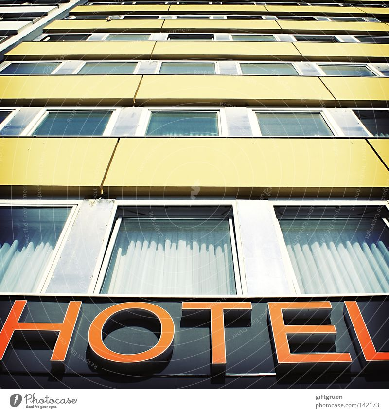 Vacation & Travel House (Residential Structure) Window Building Sleep Characters Construction site Letters (alphabet) Hotel Sign Services Typography Drape