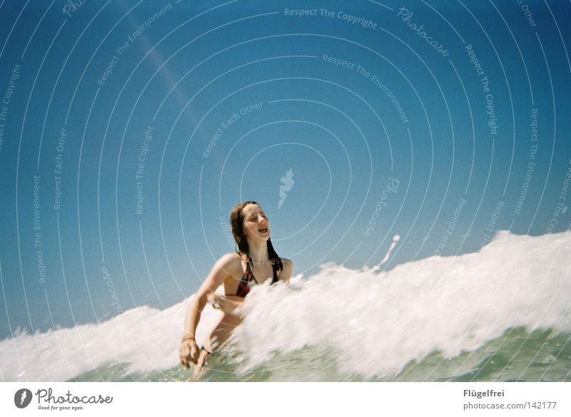 Woman Sky Blue Vacation & Travel Water White Summer Ocean Joy Loneliness Beach Adults Cold Emotions Laughter Movement
