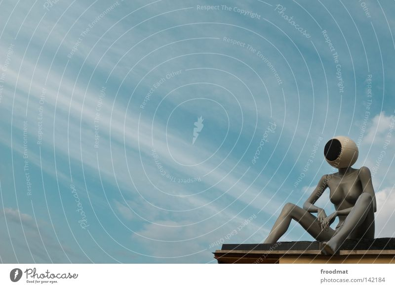 headphones Things Clouds Headphones Loudspeaker Mannequin Vantage point Art Diagonal Woman Techno Audience Symbols and metaphors Relaxation Easygoing Naked
