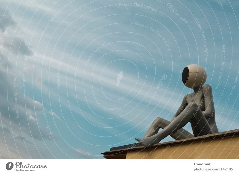 head voice Things Clouds Headphones Loudspeaker Mannequin Vantage point Art Diagonal Woman Techno Audience Symbols and metaphors Relaxation Easygoing Naked
