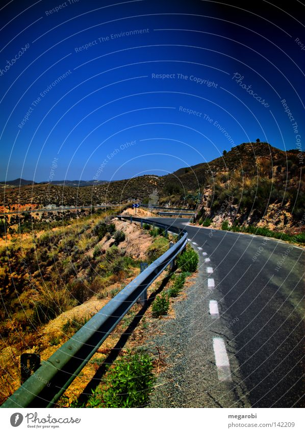 Road to Lorca Spain Mainland Country road HDR Winding road Crash barrier Street Slope Edge Transport Traffic infrastructure Murcia Mountain