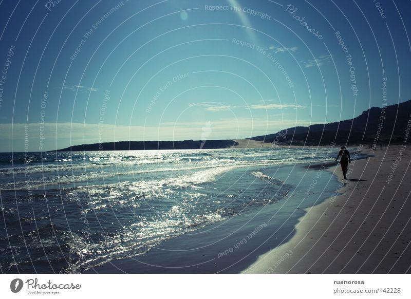 Human being Man Water Sky Sun Ocean Blue Summer Beach Sand Waves Hiking Going Atlantic Ocean