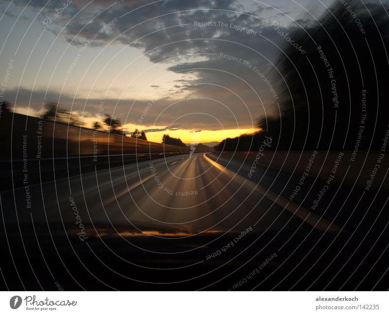 Sun Loneliness Street Lanes & trails Movement Car Walking Transport Speed Empty Motor vehicle Doomed Sunset Right ahead Acceleration