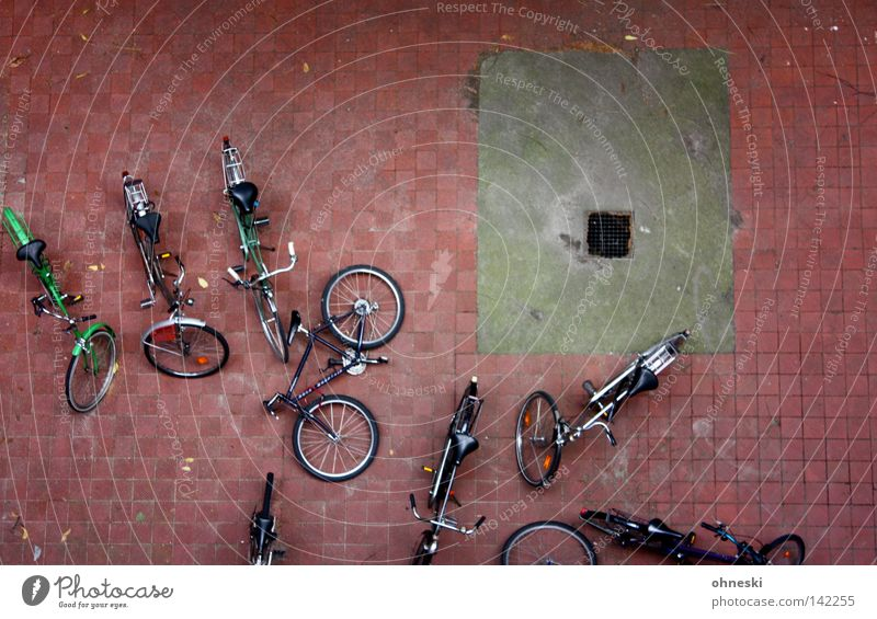 The wheels in the yard Bicycle Bird's-eye view Sprained Courtyard Backyard Break Drainage Paving stone Stone Topple over Parking Parking lot Tire Calm