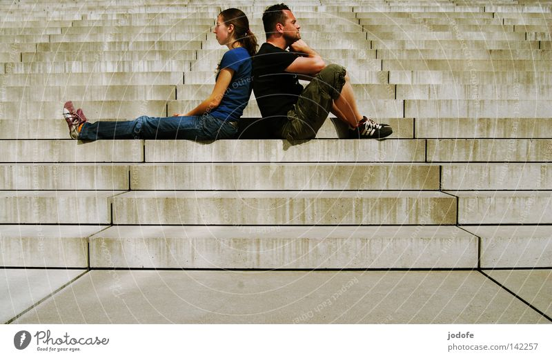 Woman Human being Man White Calm Feminine Couple Footwear Bright Together Wait Masculine Concrete Sit Stairs In pairs