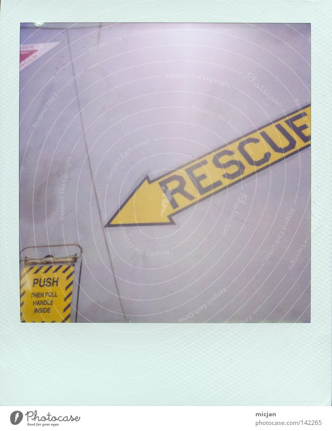 exit Arrow Rescue Yellow Signs and labeling Symbols and metaphors Metal Stitching Polaroid Analog 600 Paper Picture frame Edge Characters Letters (alphabet)
