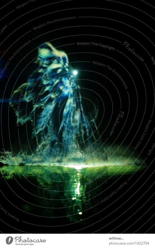 Blue Green Water Black Fantastic Fairy tale Inject Play of colours Visual spectacle Fantasy Point of light Lighting effect