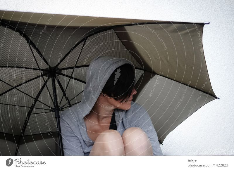 Human being Woman Loneliness Face Cold Adults Life Sadness Emotions Lifestyle Moody Leisure and hobbies Gloomy Umbrella Shame Hooded (clothing)