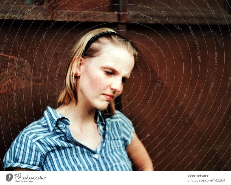 Woman Beautiful Feminine Emotions Think Blonde Adults Grief Stripe Analog Concentrate Shirt Rust Distress Freckles