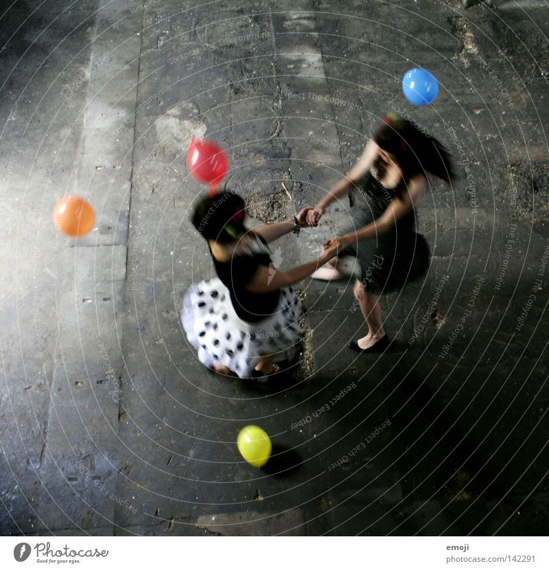 Woman Youth (Young adults) White Joy Black Colour Feminine Movement Multicoloured Air Dance Together Happiness Motion blur Balloon Wing