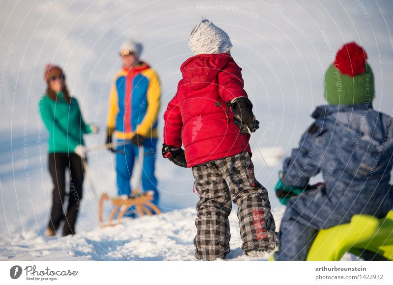 Human being Child Nature Youth (Young adults) Young woman Young man Winter Cold Adults Life Movement Snow Feminine Boy (child) Playing Family & Relations