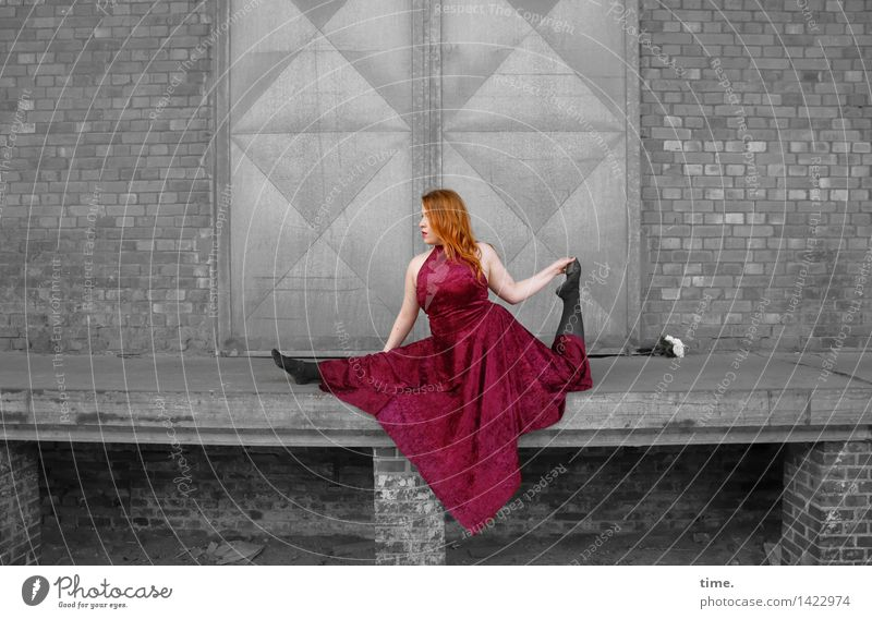 . Feminine 1 Human being Stage play Dance Dancer Wall (barrier) Wall (building) Door Dress Red-haired Long-haired Movement Exceptional Elegant Beautiful