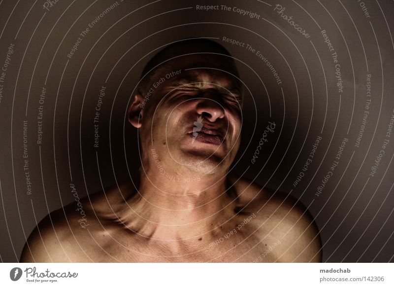 Human being Man Calm Face Adults Life To talk Naked Head Sadness Power Fear Mouth Masculine Skin Nose