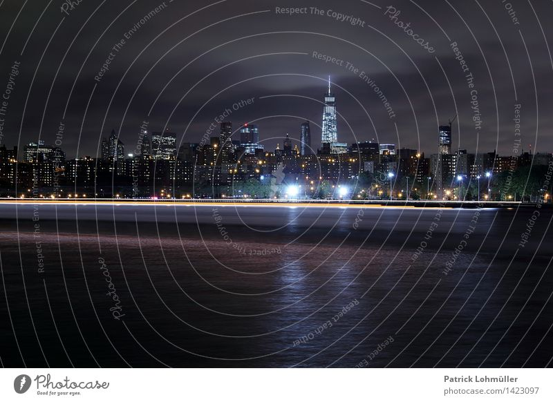hiss Tourism City trip Environment Landscape Water Night sky River bank East River New York City Manhattan USA North America Town Skyline
