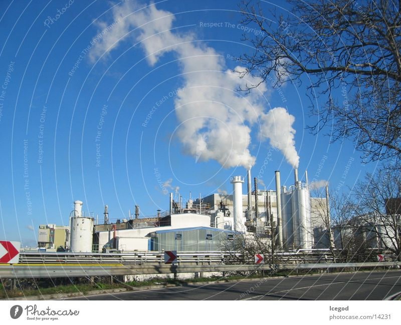 Autumn Industry Factory Smoke Chimney Blue sky Crash barrier