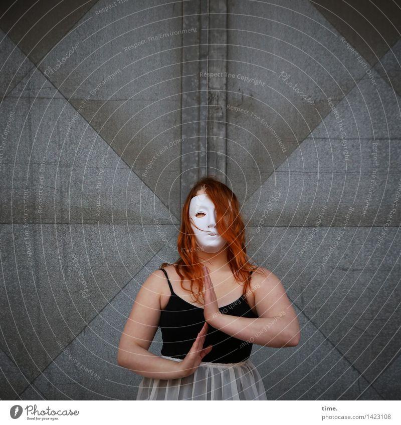 Human being Wall (building) Life Movement Feminine Wall (barrier) Art Door Power Creativity Idea Observe Dress T-shirt Passion Mask