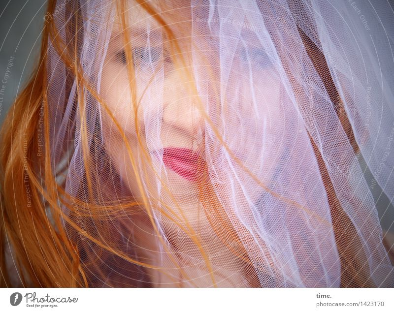 . Feminine 1 Human being Cloth Vail Bridal veil Red-haired Long-haired Observe To enjoy Smiling Looking Wait Beautiful Joy Happy Happiness Contentment