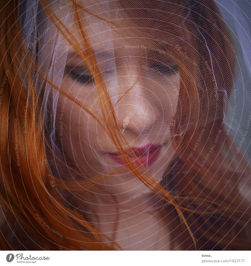 . Feminine 1 Human being Vail Red-haired Long-haired Curl Beautiful Life Sadness Concern Grief Fatigue Reluctance Pain Longing Homesickness Wanderlust