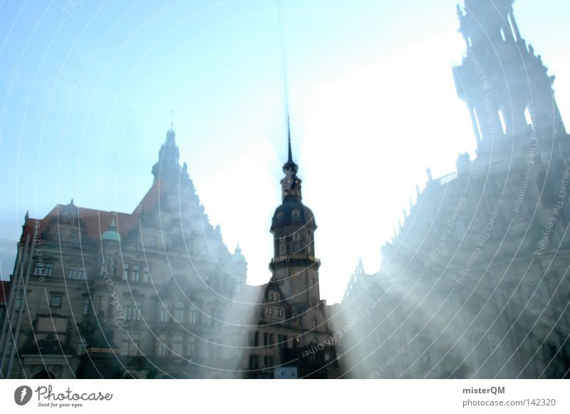 Culture shock. Dresden Capital city Old town Castle Hofkirche Light Light (Natural Phenomenon) Radiation Corona Holy Heavenly Beautiful World heritage Distorted
