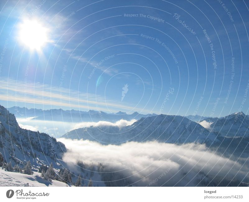 Sun Winter Clouds Snow Mountain Large Austria
