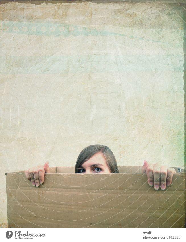Woman Hand Face Eyes Hair and hairstyles Fingers Hide Loudspeaker Carton
