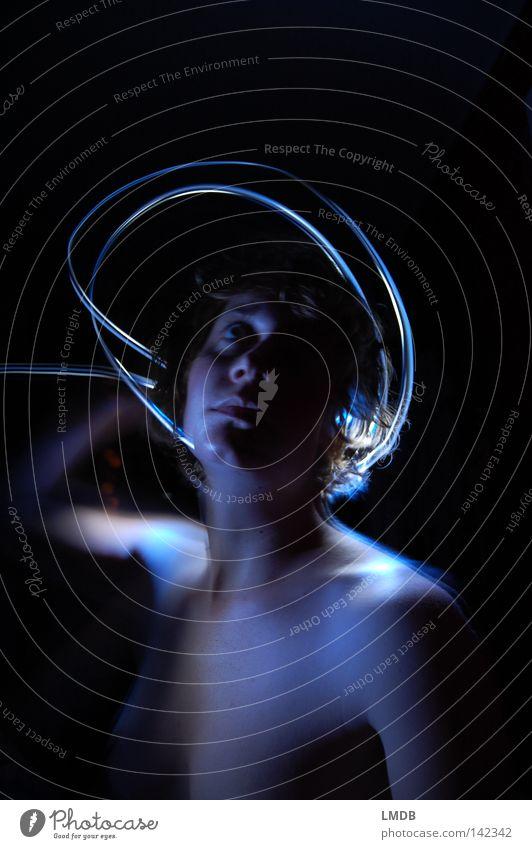 gloriole Halo Holy Heavenly Black Night Dark White Ask Think Naked Portrait photograph Shoulder Self-dramatization Long exposure Dream Dream world Aloof