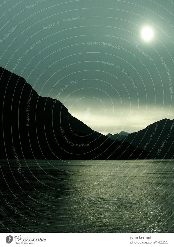 Sky Sun Ocean Blue Clouds Dark Mountain Gray Rain Fog Mysterious Thunder and lightning Fjord New Zealand South Island