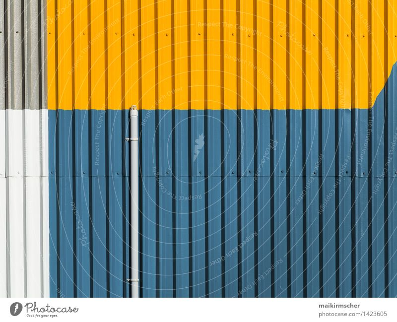 Blue Colour Yellow Wall (building) Architecture Style Background picture Wall (barrier) Gray Art Line Facade Design Simple Stripe Point