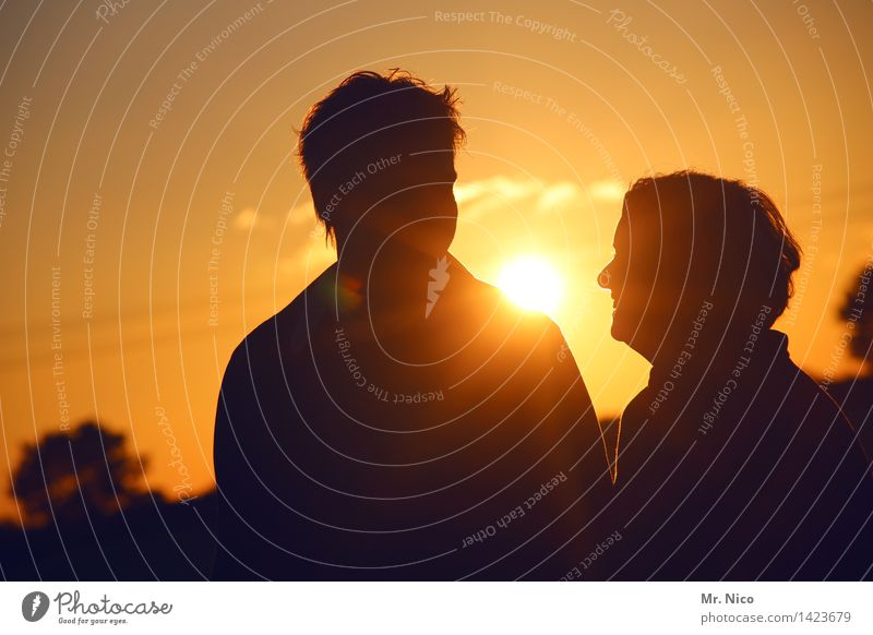 sunny afternoon Vacation & Travel Summer Masculine Feminine Woman Adults Man Couple Partner 2 Human being Environment Nature Beautiful weather Yellow Gold Happy